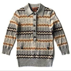 Tory Burch Gray ZigZag Striped Sweater